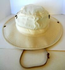 Fishing Hat Safari Cap Floppy Hat for Men Size Small USA Made Snaps Vents Ivory