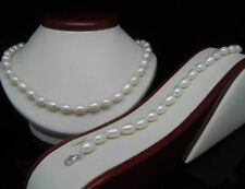 Nice 8-9mm White Cultured Akoya Rice Pearl Necklace 18'' Bracelet 7.5'' Set