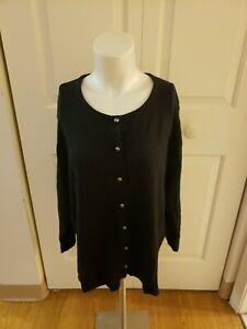 TALBOTS Women's Silk/Cashmere Blend Black Cardigan 2X