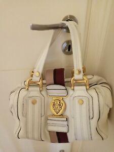 GUCCI handbag AVIATRIX  BOSTON WHITE LEATHER MEDIUM  SATCHEL  % Authentic