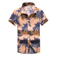 Men Hawaiian Print Summer Short T-Shirt Sports Beach Quick Dry Blouse Top Blouse