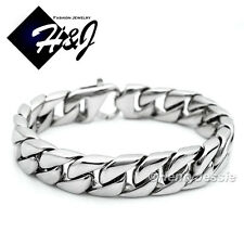 "8.5""MEN's Stainless Steel HEAVY WIDE 14x4mm Silver Cuban Curb Chain Bracelet*B59"