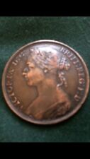 Queen Victoria 1892 One Penny With Rainbow Colour Tones