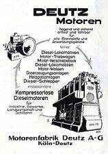 Motorenfabrik Deutz A.G. Köln DEUTZ MOTOREN Historische Reklame von 1927