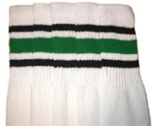 "22"" KNEE HIGH WHITE tube socks with BLACK/GREEN stripes style 3 (22-70)"