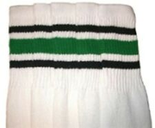 "22"" KNEE HIGH WHITE tube socks with BLACK/GREEN stripes style 3 (22-70)"