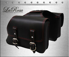 New La Rosa Black Leather Red Stitching Harley Sportster Throw Over Saddlebags