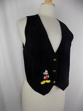 Disney Mickey Mouse Women's Suede Leather Vest Embroidered Black Size Small