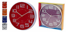 Large 35cm Contemporary Wall Clock Kitchen Clock Choice of 6 Modern Dial Colours Red