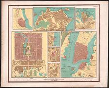 1858 Rare carte lithographie ville de Rio de Janeiro New York Pékin Sydney Delhi
