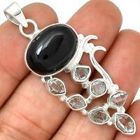 Black Onyx & Herkimer Diamond 925 Sterling Silver Pendant Jewelry AP2270