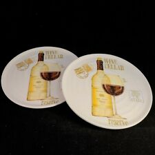 2 Wine Cellar Reserve Plates Italy Ceramica Cuore Napa Valley Merlot Vineyard