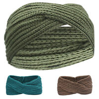 Winter Women Knit Bohemia Weaving Cross Headband Handmade Hairband Head V8R1