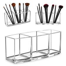 Acrylic Brush Holder 3 Slot Cosmetic Organizer Makeup AA Top Storage AU G3Z5