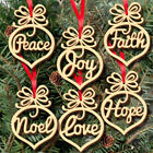 6Pcs Christmas Decorations Wooden Ornaments Xmas Tree Hanging Tags Pendant Decor
