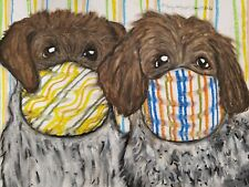Wirehaired Pointing Griffon Collectible Aceo Print Dog Art Card 2.5X3.5 by Ksams