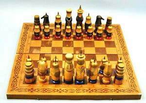 Vintage Russian Soviet USSR Hand Painted Wood Chess Set