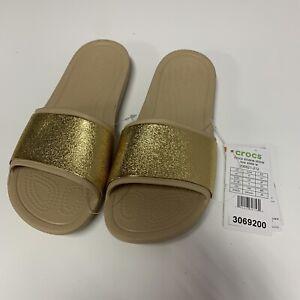 Crocs Sloane Shine Gold Mottled Low Heel Slip on Sliders Mule. UK 5, EU 37-38