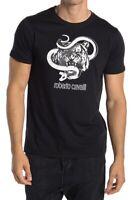 Roberto Cavalli HST609 A475 05051 Tiger Graphic Crew Neck Cotton T-Shirt Black