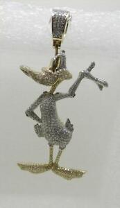 "10K YELLOW GOLD LARGE DAFFY DUCK DIAMOND PENDANT 2.25"" LONG - LB3301"