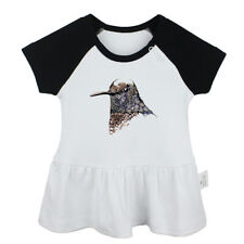 Inky Hummingbird Art Newborn Baby Girls Dress Toddler Infant 100% Cotton Clothes