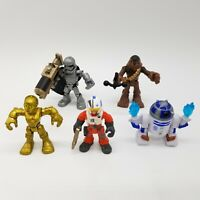 Lot of 5 Star Wars Hasbro Mini Action Figures-Chewbacca, R2-D2, C3PO