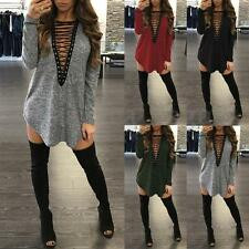 Women Lace-up Plunge Plunge V Neck Casual Loose Mini Dress Tops Blouse Shirt Tee