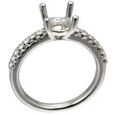 14K White Gold 4 Prong Semi Mount Solitaire Diamond Engagement Ring