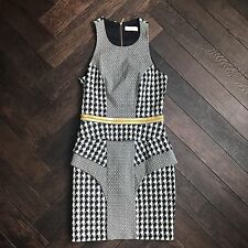 Sass & bide Ladies Houndstooth Black White Cocktail Party Dress gold 6 small Xs
