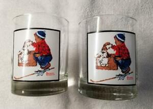 """Norman Rockwell """"A Boy Meets His Dog"""" Glasses Arby's Pepsi 1979 Promo - 2 Pcs."""
