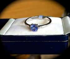 TANZANITE & DIAMOND PREMIUM QUALITY SILVER RING SIZE R 'CERTIFIED' -FAB COLOUR!