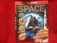 """Discover & Make """"Space"""" Book New Hardcover 3-D Models-Glow in Dark Stickers New"""