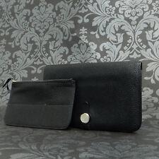 Rise-on HERMES Des Gonds Dogon Black Togo Leather Bifold Wallet Long Purse #10
