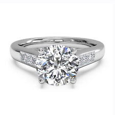 Real 14K Solid White Gold Rings 1.05 Ct Round Diamond Engagement Ring Size M O