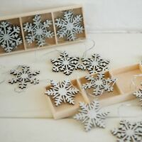 9x Vintage Silver Glitter Snowflake Christmas Tree Bauble Hanging Decorations