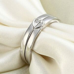 5 mm Heart Created Diamond 2Pcs Band Solid Sterling 925 Silver Wedding Ring Set