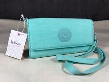 Kipling Zuma Fresh Teal Blue Green Solid Wallet Wrislet Crossbody Bag Teddi Rubi
