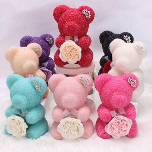 Diamond Rose Bear Flower Teddy Birthday Anniversary Gift 25 cm with GIFT BOX