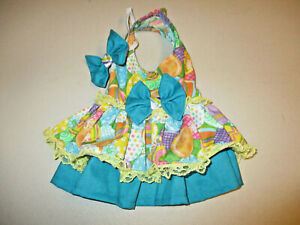 XS Dog dress [Easter eggs] cotton handmade