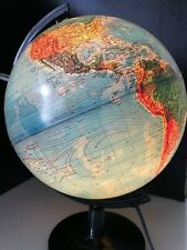ITALIAN MADE 1980s ILLUMINATED WORLD GLOBE WITH MAGNIFIER (YUGOSLAVIA, USSR)
