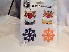 NWT NHL Buffalo Sabres 4 Ornaments 2 Reindeer 2 Snowflakes Hockey Fan Decor