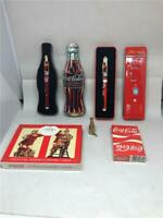 VINTAGE LOT COCA COLA 2 PENS IN TINS DECK PLAYING CARDS IN TIN DECK BRIDGE CARDS