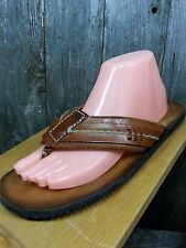 RARE Saks Fifth Avenue Brown Leather Thong Boho Hippie Mens Sandals 7 M