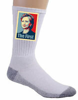 Hillary Clinton The First Political Poster Style Design Crew Socks Feet Soft New