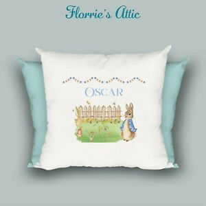 HANDMADE CUSHION ~ PETER RABBIT GARDEN - PERSONALISED - BOY OR GIRL
