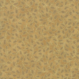 Poinsettias and Pine Metallic Holly Leaf Gold 33515 18M Moda Quilting Cotton