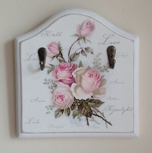 Hand Made Key Holder Decoupaged With Beautiful Love Rose Design