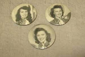 "3 Vintage Western Gals B&W Photo 2 & 1/8"" Diameter AGT Co SAMPLE Pinback Buttons"
