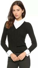 Alice + Olivia V Neck Collared Sweater Black White Cable Knit Top Size L NWOT