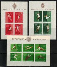 San Marino 1960 Rome Olympics Set of 3 S/Sheets of 4 MNH